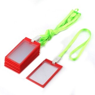 School Office Plastic Vertical ID Name Badge Card Holder 10pcs w Neck Lanyard