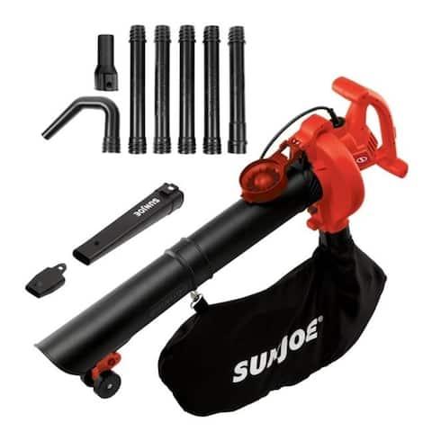Sun Joe SBJ606E-GA-RED 14 amp 4-in-1 Electric Blower with 250 MPH Vacuum Mulcher & Gutter Cleaner Red
