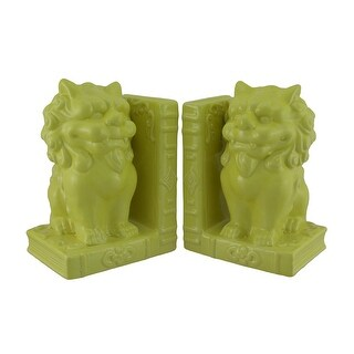Yellow Ceramic Chinese Lion Decorative Foo Dog Bookends
