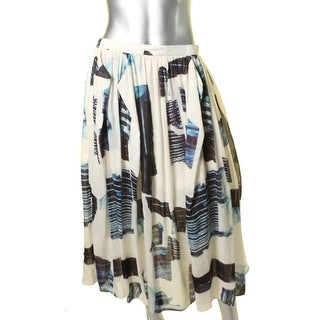 Tibi Womens Silk Blend Printed Peasant, Boho Skirt - 8