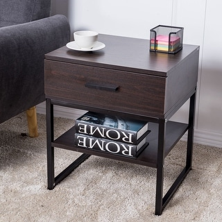Costway End Table Night Stand Table  Furniture Shelf Storage Drawer Display
