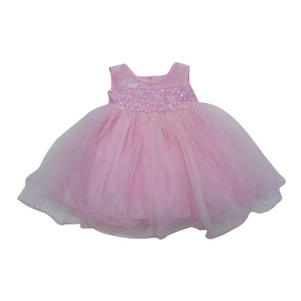 Baby Girls Pink Beaded Embroidered Overlaid Flower Girl Dress