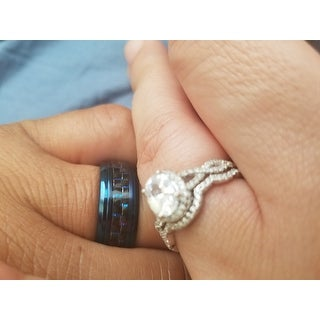 Miadora Sterling Silver Oval and Round-cut Cubic Zirconia Halo Bridal Ring set