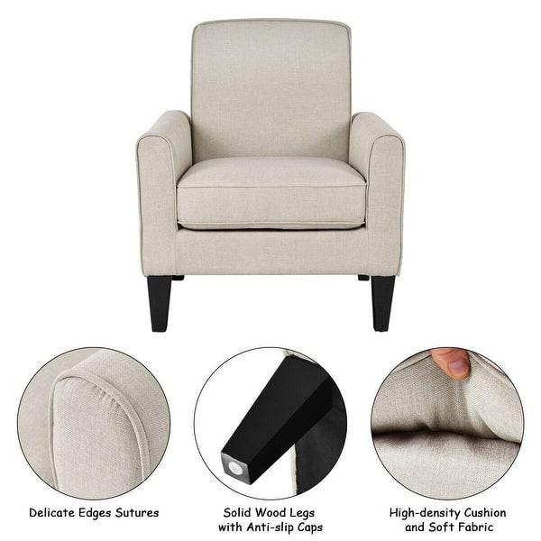 Shop Costway Modern Accent Arm Chair Single Sofa Linen ...