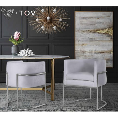 Giselle Grey Velvet Dining Chair with Silvertone Frame