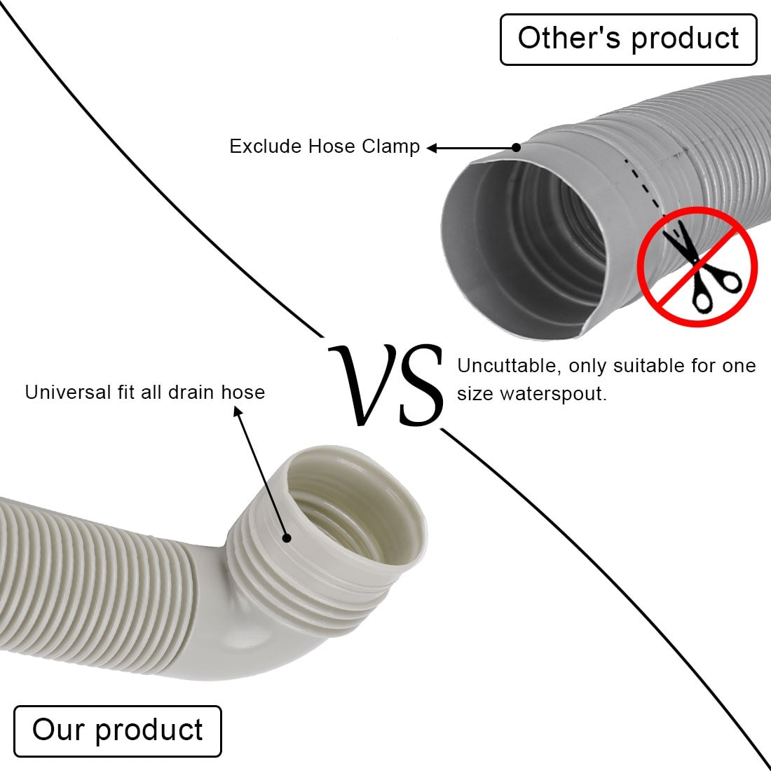Universal Washing Machine Drain Extension Discharge Hose with Clamp Replacements
