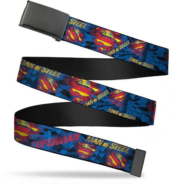 Blank Black Bo Buckle Superman Man Of Steel Shield Collage Rays Black Web Belt - L