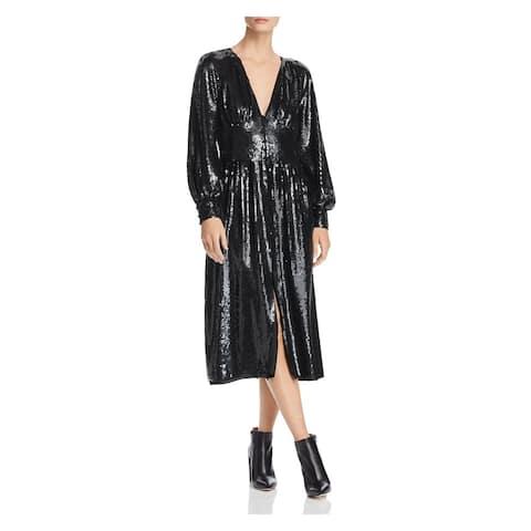 JOIE Womens Black Raglan Tea-Length Shift Evening Dress Size 0