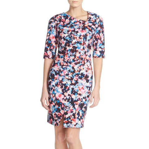 NYDJ Pink Women's Size 2 3/4 Sleeve Sandra Crepe Sheath Dress