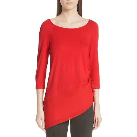 St. John Womens Red Size Small S Ruched Asymmetric-Hem Knit Blouse