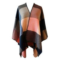 QZUnique Women's Block Blanket Shawl Wrap Cardigan Poncho Cape Sweater