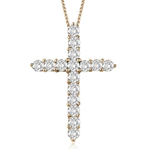 2.00 cttw. 14K Rose Gold Round Cut Diamond Big Cross Pendant