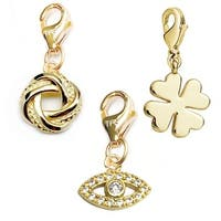 Julieta Jewelry Lucky Eye, Love Knot, Clover 14k Gold Over Sterling Silver Clip-On Charm Set