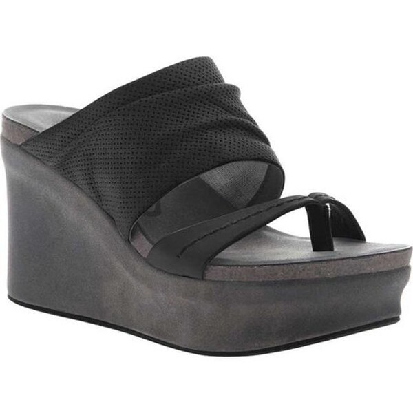 edc4461fe9af Shop OTBT Women s Tailgate Heeled Sandal Black Leather - Free Shipping  Today - Overstock.com - 20747129