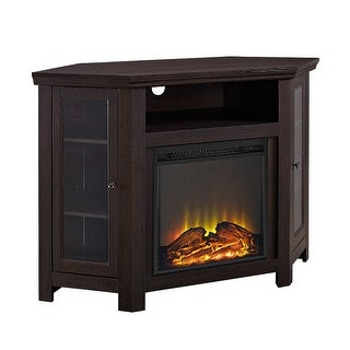 """Offex 48"""" Wood Corner Fireplace Media TV Stand Console - Espresso"""