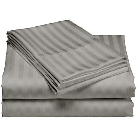 1200 Thread Count Deep Pocket Luxury Hotel Stripe Cotton Bed Sheet Set