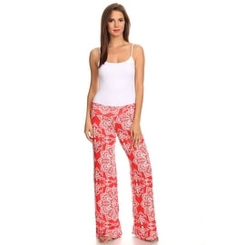 Women's Lotus Coral Printed Palazzo Pants Made in USA