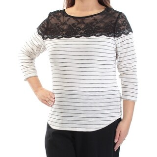 MAISON JULES $39 Womens New 1344 Ivory Black Striped Lace 3/4 Sleeve Top XL B+B