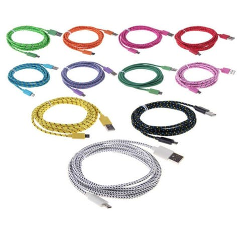 Colorful Braided Fabric USB Charger Cable Data Cord