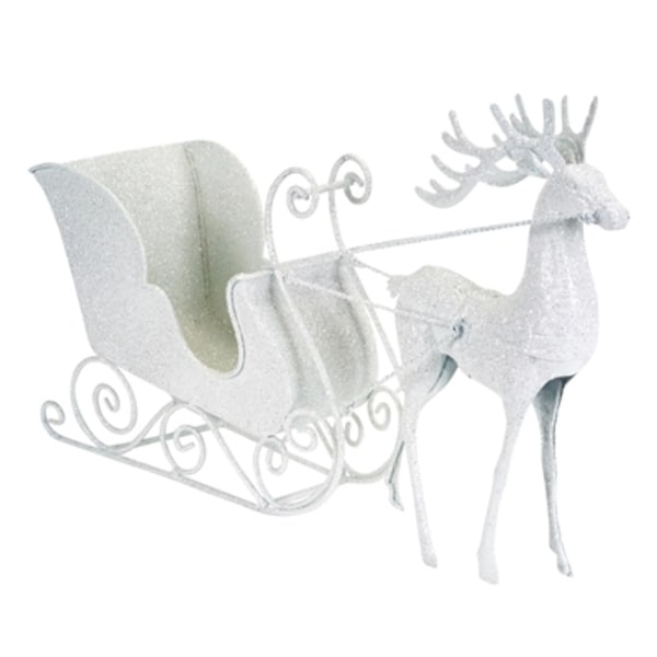 Pack of 2 Glitter White Reindeer with Sleigh Christmas Table Top Decoration 7""