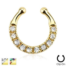 Ten Paved Gem Single Line Gold IP Non-Piercing Septum Hanger (Sold Individually)