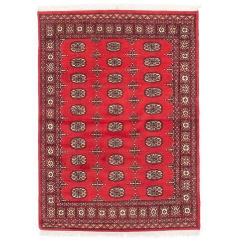 ECARPETGALLERY Hand-knotted Peshawar Bokhara Burgundy Wool Rug - 4'3 x 5'10