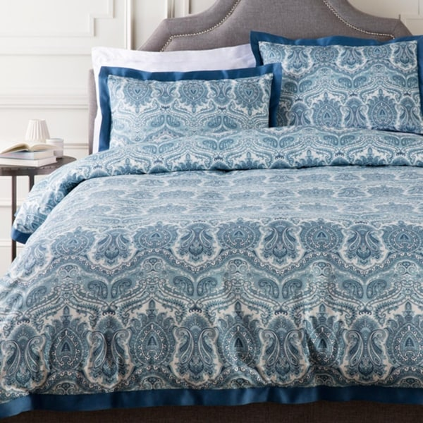 Blue and White Damask Cotton Twin Duvet Cover and Sham