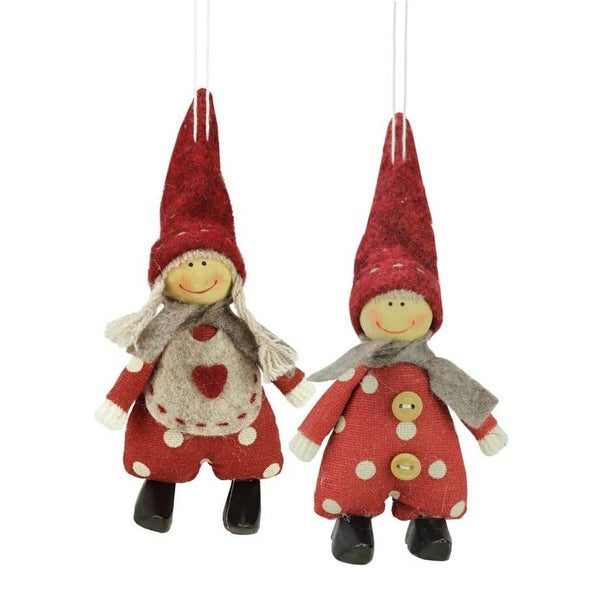 Set of 2 Red and White Polka Dot Boy and Girl Decorative Hanging Christmas Ornaments 5.5""