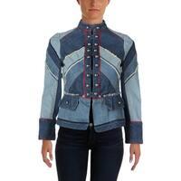 Marc by Marc Jacobs Womens Denim Jacket Chevron Embellished