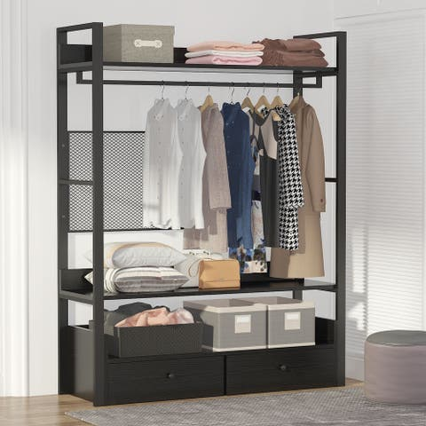 Free-Standing Closet Organizer with Drawers and Clothes Garment Rack Shelf