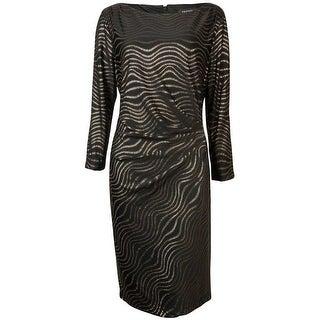 Tahari Women's Reggie Metallic Buckle Sheath Dress