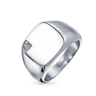 Mens Cubic Zirconia CZ Accent Engravable Square Signet Ring For Men Silver Tone Stainless Steel