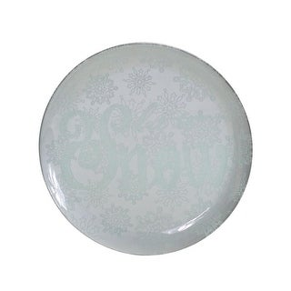 Set of 2 Cloud Gray Round Let It Snow Snowflake Glass Christmas Plate 14
