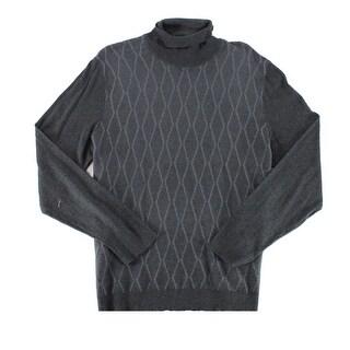 Alfani Heather Gray Mens 2XL Diamond Knit Turtleneck Sweater
