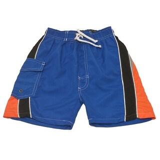 Quad Seven Boys Royal Blue Orange Black Paneled Swim Trunks