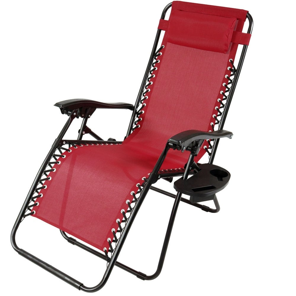 Sunnydaze Zero Gravity Lounge Chair with Pillow and Cup Holder, Multiple Colors Available - Thumbnail 1