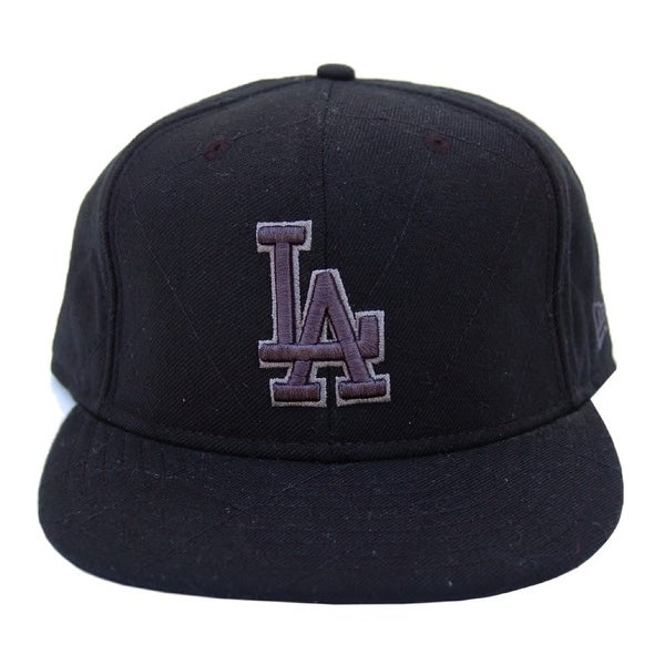 f04e744fa1e Shop MLB Los Angeles Dodgers New Era 59Fifty Black Charcoal Text Fitted Hat  Cap - 8 - Free Shipping On Orders Over  45 - Overstock - 16948033