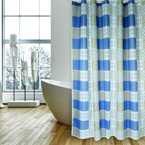 Extra Long Shower Curtain 72 x 78 Inch MSV France Polyester Fabric Patchwork Look Blue
