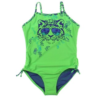 Breaking Waves Girls Hear Me Roar Printed Cinched One-Piece Swimsuit