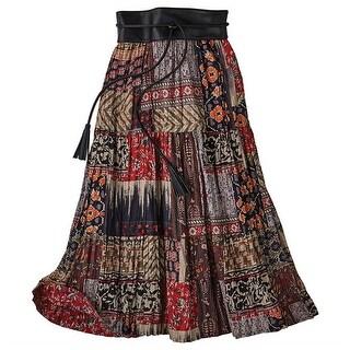 Women's Red Desert Broom Skirt - Reversible Red Floral/Patchwork Print