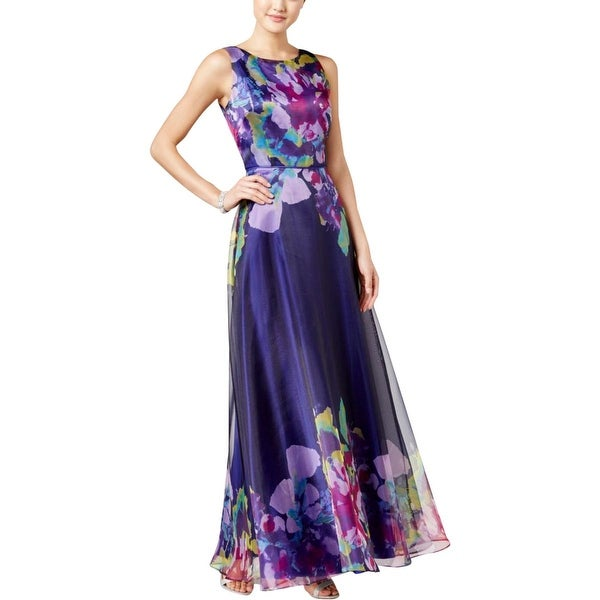Tahari Asl Womens Evening Dress Fl Print Organza 8