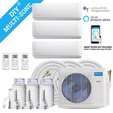 18,000 BTU 1.5 Ton 2-Zone Ductless Mini-Split Air Conditioner and Heat Pump with 75 ft. Install Kit