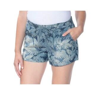 Womens Blue Floral Short Juniors Size M