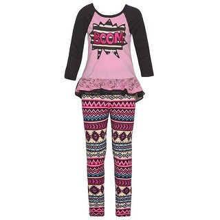 "Big Girls Pink ""Boom"" Comics Lace Trim Tribal Motif 2 Pc Legging Set"
