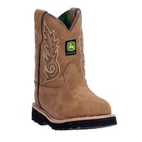 John Deere Western Boots Boys Kids Round Toe Leather Cement Tan