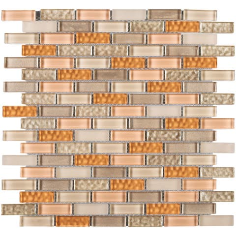 "TileGen. Small Brick 1/2"" x 2"" Glass Mosaic Tile in Beige/Orange Wall Tile (10 sheets/9.8sqft.)"