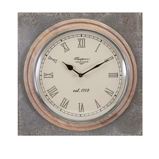 13 Weathered Wood with Iron Wall Clock with Sleek Roman Numeral Face