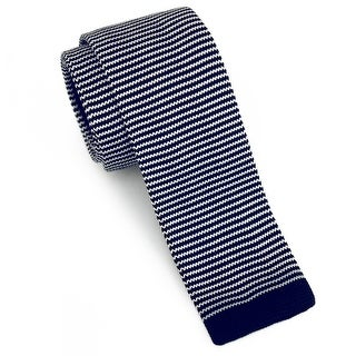 "Men's 2"" Knit Stripped Navy Tie"