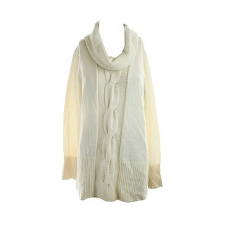 Inc International Concepts Cream Cowl-Neck Cable-Knit Tunic Sweater L