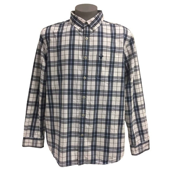 ad9ae0dd5227 Shop American Eagle Men's Long Sleeve Athletic Fit Cotton Plaid Shirt -  XX-LARGE - Free Shipping On Orders Over $45 - Overstock - 21257050